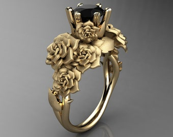 Nature Inspired 14K Yellow Gold 1.0 Ct Black Diamond Rose Bouquet Leaf and Vine Engagement Ring R427-14KYGSBD