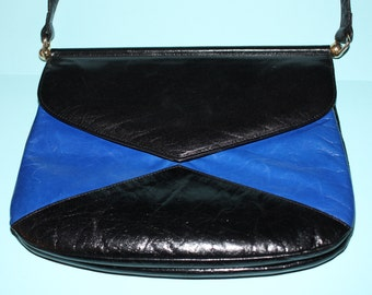 Gorgeous Vintage Charles Jourdan Leather Blue and Black Designer Handbag/Paris, Made in France.