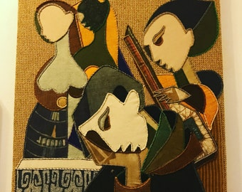 Vintage embroderied 'Antonius temptation' 60s cubist folkart