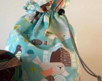 Small drawstring project bag winter wonderland
