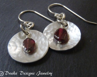 garnet earrings Sterling silver January birthstone garnet birthday gift