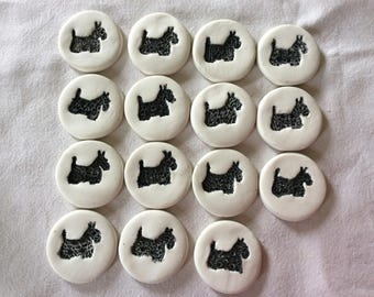 Scottie Dogs porcelain buttons handmade.