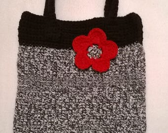Black and White Tote with Flower