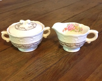 Sugar bowl and creamer set Washington Colonial China Vogue VOG38 rose floral gold swags romantic cottage chic farmhouse wedding serveware