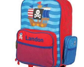 Little Boys Rolling Luggage, Personalized Pirate Suitcase for boys, Embroidered overnight bag for boys, Rolling Pirate Suitcase