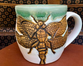 Dragonfly Pottery Mug Hand-carved, Dragonfly Decor, Handmade