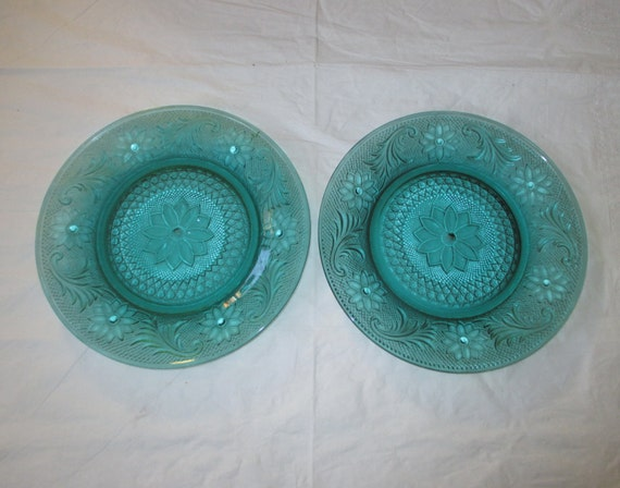 2 Indiana Glass Tiara SANDWICH Luncheon Plates, Teal Spruce Green, 8-3/8""