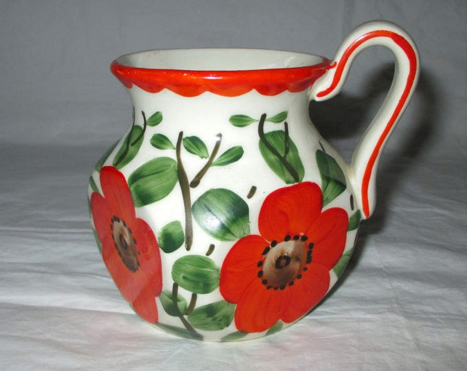"3.75"" Coronet Square Mug-Shape Vase, Handpainted REd POPPY, Czechoslovakia Mark (c. 1920s)"