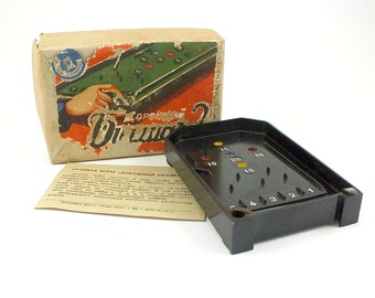 Rare Vintage Board Game 50s. Soviet Pinball Game Billiards With Original Box, Instruction. Antique Bakelite Table Game. Collectable Toy.