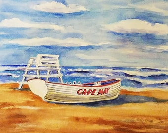 """Cape May New Jersey artwork by Sally T. Crisp 12"""" x 16"""" Example of custom watercolor commission"""