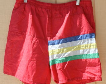 Vintage 1980s Beach Surf Red Stripes Swim Shorts