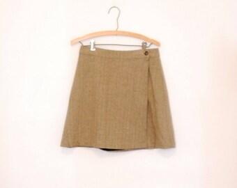 Tan Herringbone Wrap Mini-Skirt -  Early 90s