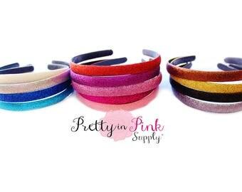 NEW GLITTER Thick Hard Headband- You Choose Quantity- Lined Headband- Thick Headband- Girls Headband- Headband DIY- Plastic Headband