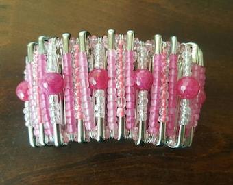 Pink safety pin bracelet. 8 inch