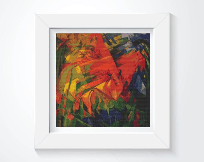 Cross Stitch Pattern PDF, Embroidery Chart, Abstract Art Cross Stitch, Animals in a Landscape by Franz Marc (MARC01)