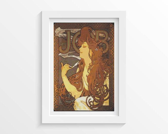 Cross Stitch Pattern PDF, Embroidery Chart, Art Cross Stitch, Woman Cross Stitch, Job by Alphonse Mucha (MUCHA16)