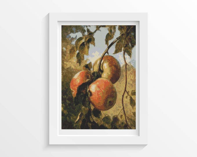 Cross Stitch Pattern PDF, Embroidery Chart, Art Cross Stitch, Food Cross Stitch, Apples by Thomas Worthington Wittredge (WHITT01)