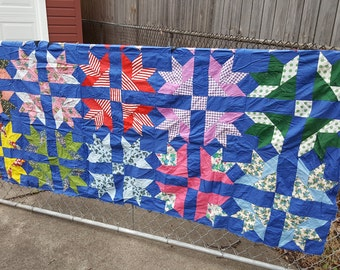 Vintage Feedsack Feed Sack and Vintage Material Quilt Top Maple Leaf Star Pattern