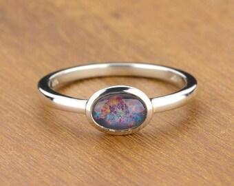 Australian Black Opal Ring in 925 Sterling Silver Natural Australian Opal Artisan Jewelry SKU: 7x5-E-W-925-triplet