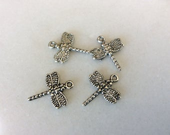 Antique silver tone dragonfly charm pendants