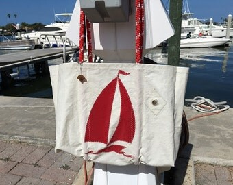Red Sailboat Sea Bag handmade from Recycled sail cloth   XLG