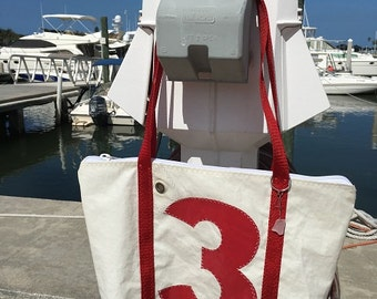 Sail Number 3 with zippered top handmade recycled sail bag, one of a kind bag or tote
