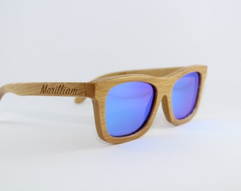 Hand Crafted Bamboo Sunglasses with Blue Reflective Polarised Lens