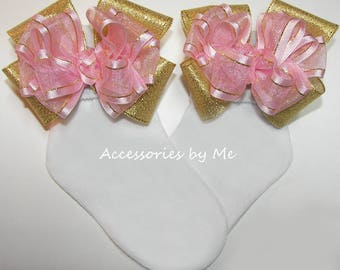 Fancy Socks, Pink Gold Trim Bow Socks, Organza Satin Metallic Lame Ribbon Bows, Baby Girl Toddler Pageants, Wedding Party, Princess Birthday