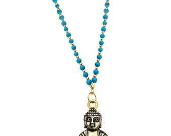 Turquoise and Golden Bead Long Necklace with Meditating Buddha for Everyday Happiness
