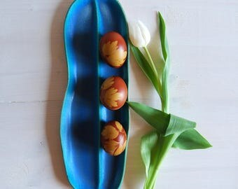 Serving plate Ceramic platter Long plate Ceramic and pottery Serving food Blue pottery Oval plate Serving platter Handmade plate Ceramics
