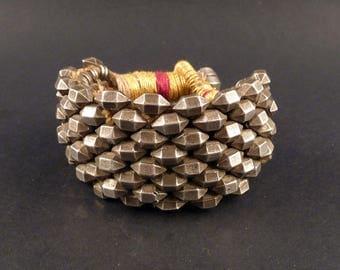 Old heavy Rajasthan silver bracelet from India, Indian armlet bazuband, ethnic bracelet, tribal bracelet, rajasthan jewelry