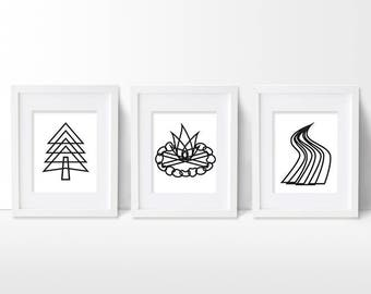 Camping Art Print Set, Outdoors Explorer Artwork, Campfire Woods Tree River Nursery Decor