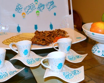 Set of four Espresso cups.  hand painted with hamsa design and  arabic calligraphy Ahlan-washlan)
