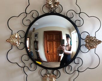 Vintage Round Convex Mirror with swirl and Leaf design frame
