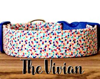 """Colorful Fun Confetti Dog Collar """"The Vivian"""""""