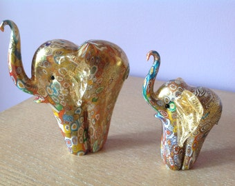 Pair (2) Murano Italy Art Glass Elephant Figurines Millefiori Millefiore Gold