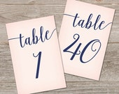 Printable Table Number Template 1-40 // Blush and Navy Wedding Table Numbers // Navy and Pink Wedding Decor