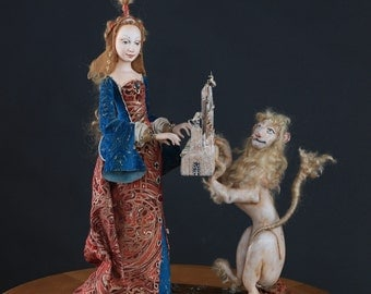 Art doll the Lady and a lion.