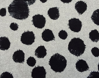 Sweater Knit Fabric by the Yard Black Circles on Oatmeal