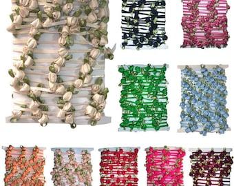 Satin Ribbon Rose String with Green Leaf - 5yd card Ribbon Trimming