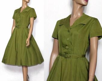 Vintage Dress //1950s//Olive Green//Full Skirt//Party Dress//Matching Belt//Shirt Waist Dress