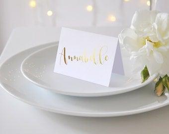 Gold Foil White Place Cards Per Card Spiro Font