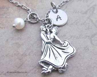 Ballroom Dancers Necklace, Personalized Hand Stamped Initial Birthstone Antique Silver Ballroom Dance Charm Necklace