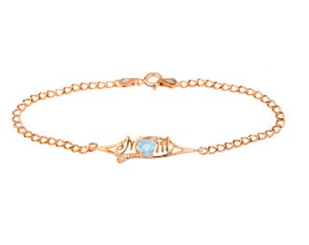 14Kt Rose Gold Plated Blue Topaz & Diamond Heart Mom Bracelet