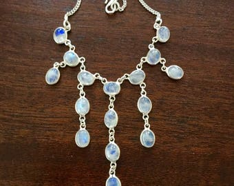 "Sterling Moonstone Necklace, Vintage Festoon Bib Necklace,  16"" Chain"