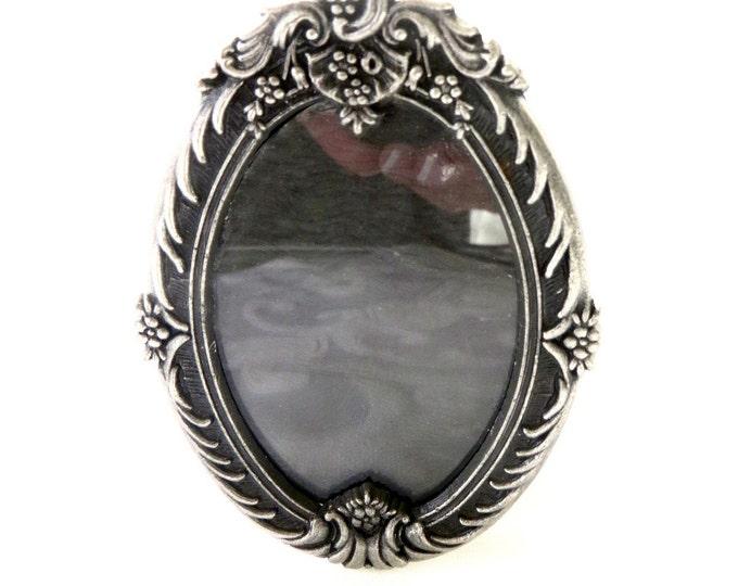 Miniature Silver Picture Frame, Oval Mini Photo Frame, Vintage Vanity or Desk Frame