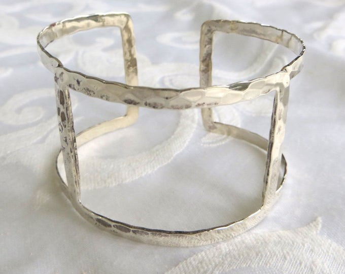 Hammered Sterling Silver Cuff Bracelet, Hammered Sterling Bracelet, Arm Band, Festival Jewelry