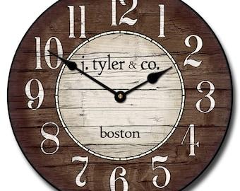 Boston Harbor Brown Wall Clock