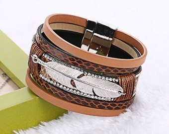 Women Fashion Feather Leaves Multilayer Wide Magnetic Clasp Bracelet.