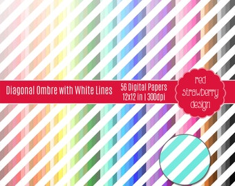 75% OFF Sale - 56 Digital Papers - Diagonal Ombre with White Lines - Instant Download - JPG 12x12 (DP244)
